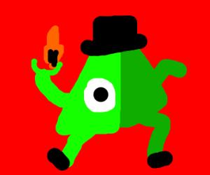Green 3D bill cipher Illuminati man