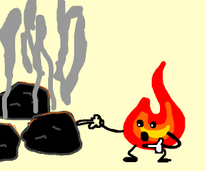 lil flame guy touching some coals