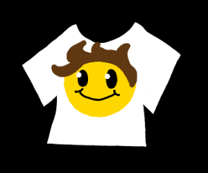 t-shirt with face and hair smiling