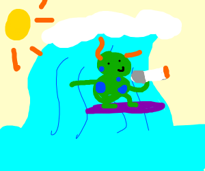 Strange creature smokes while surfing