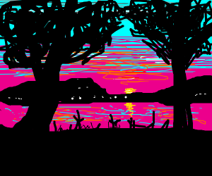trees on a sunset beach