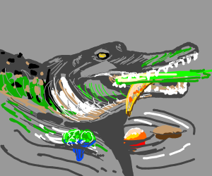 alligator likes eating his vegetables