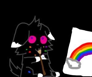 black cat painter