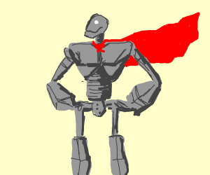 Iron Giant wearing a cape