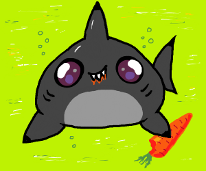 kawaii shark eats carrot