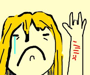 Severed middle fingered girl self harms