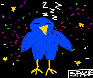 A bird....Floating in space.....Dreaming.....