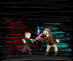 sith and jedi fighting.Jedis lightsaber broke
