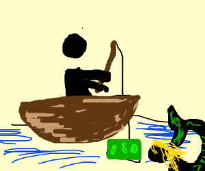 Man uses money as fishing bait for mermaid