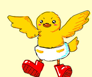 baby chick wearing diaper & red boots