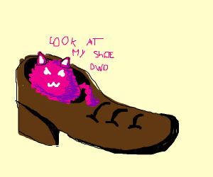 Pink Furry Blob demands attention to his shoe