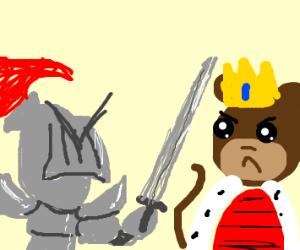 knight fighting monkey king