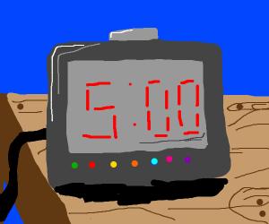 5:00 on digital alarm