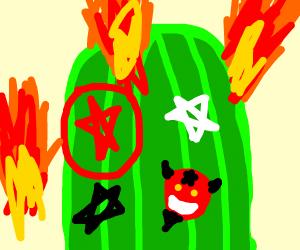saguaro cactus covered in demonic sigils