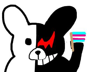 Half and Half Bunny Thumbs Ups Trans Rights