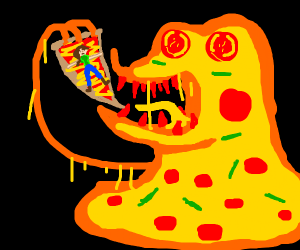 You are being eaten by a pizza monster