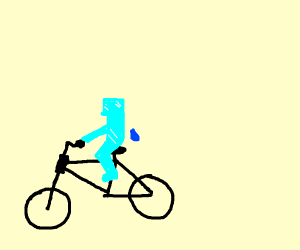 ice man on a tiny bicycle