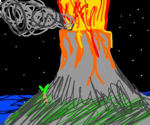 A volcano erupting at night.