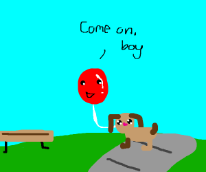 Balloon walks his dog in the park