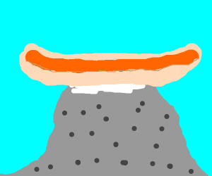 giant hot dog on mountains