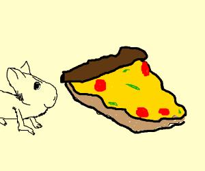Evil rat has finally grabbed his pizza slice
