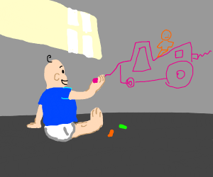 kid draws out of proportion car/pickup truck
