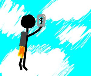 jet-pack guy taking a selfie