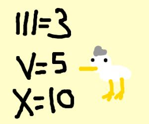 Roman Numeral Duck