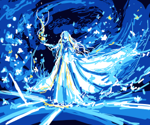 Ice mage in gown swirling ice around them