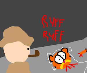 Crime Scene of killed Garfield with Sherlock
