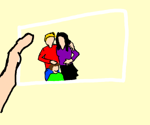 A picture frame with 3 people in it
