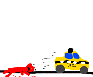 elmo gets run ober by taxi