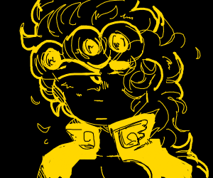 goirno giovanna in a black room (yllwlineart)