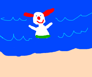 Clown swimming at beach