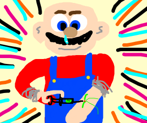Bald Mario without the hat injects drugs