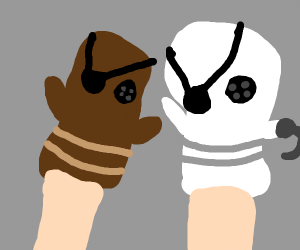 Two pirate sockpuppets in love
