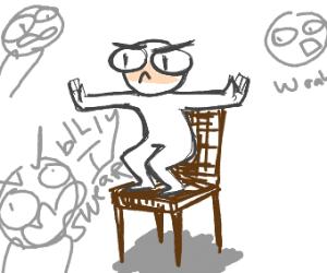 No standing on chair rule is broken