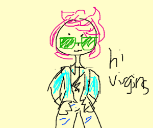 person,shortpinkhair,greenglasses,tealjacket