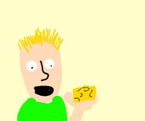 Blond kid eats some cheese