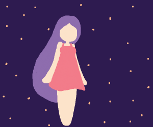 Ghostly, faceless girl at night