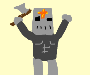 Knight with golden crosses on his helmet