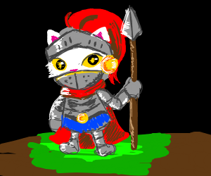 Cat Knight with spear