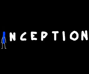 """""""Inception"""" letter i is blue and has limbs"""