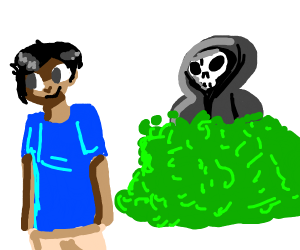 death is spyig on a kid with blue shirt