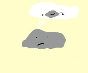 Sad rock thinks of hands