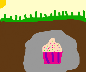 Cupcake inside rock which is buried undergrou