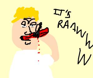 Man stabbing his own tongue