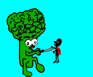broccoli stabs a small child