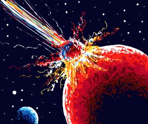 Meteor lands on Mars.