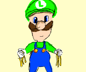Luigi holding spaghetti